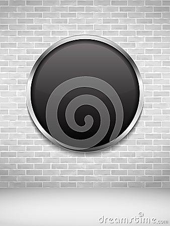 Black Round Frame on Brick Wall Vector Illustration