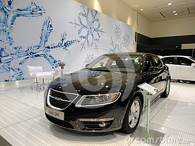 Black Saab 95 on Display Editorial Stock Photo