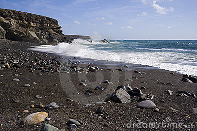 Black sand beach and cliffs, Fuerteventura