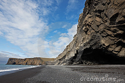 Black sand beach in Dyrholaey, Iceland