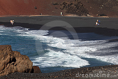 Black sand beach on Lanzarote Editorial Stock Photo