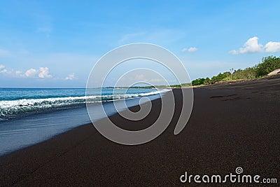 Black sand volcanic beach