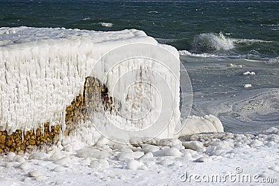 Black sea coast covered with ice