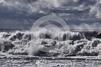 Black sea. Storm. Windy weather. Waves breaks down