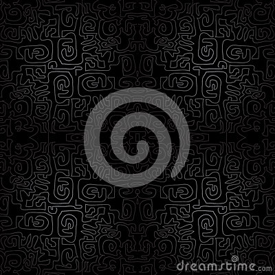 Black seamless ornament background - wallpaper with modern scrawl, labyrinth