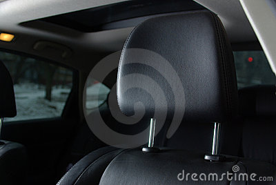 Black seat in a car