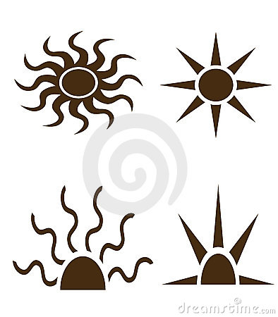 Black shapes of sun and rays