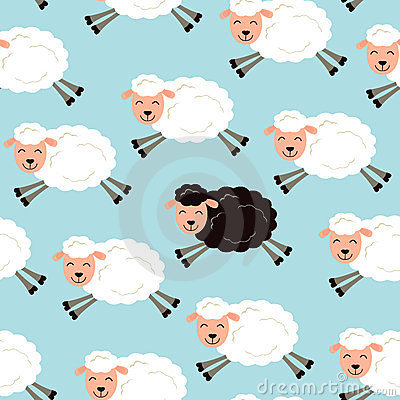Black Sheep In A Flock Royalty Free Stock Photos - Image: 24189878
