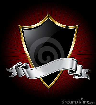 Free Black Shield And Silver Ribbon Stock Images - 10651104