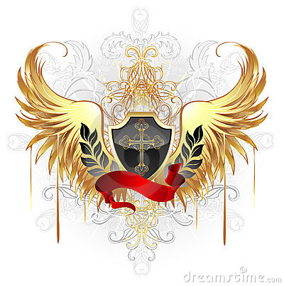 Black shield with golden wings