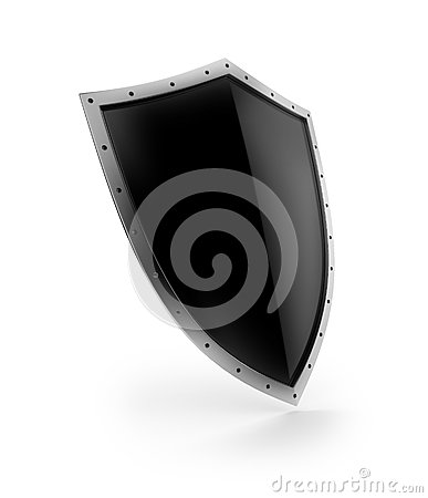 A black shield with shiny silver border