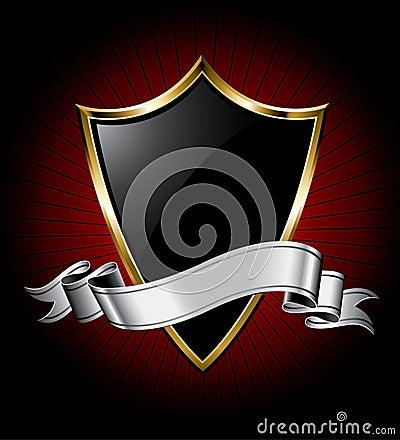 Black Shield and Silver Ribbon