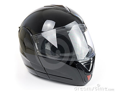 Black, shiny motorcycle helmet