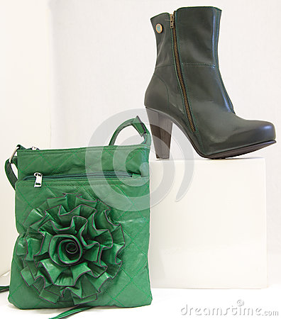 Black shoe and green bag