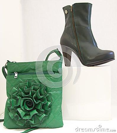 Black shoe and green bag