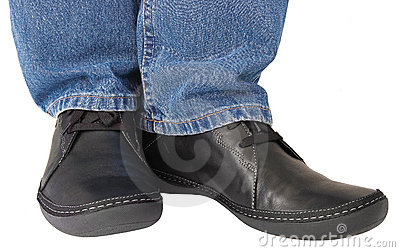 Black shoes blue denim indigo jeans casual men