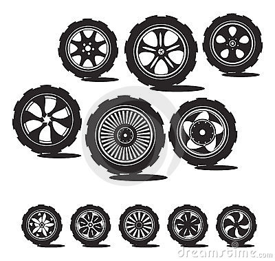 Black  silhouette: automotive wheel