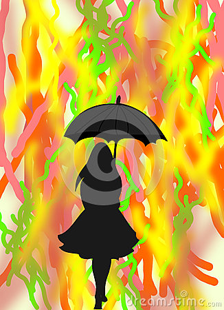 Black silhouette of a girl with an umbrella on abstract background