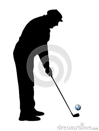 Black silhouette of golfer