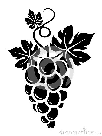 Black silhouette of grapes. Vector. Vector Illustration