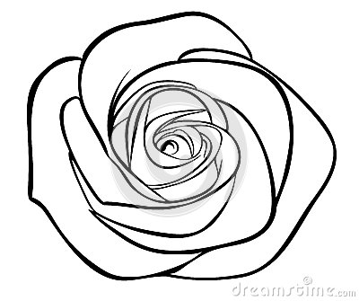 Black silhouette outline rose,