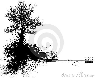 black silhouette of tree