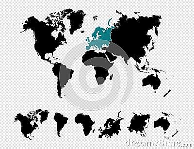 Black silhouette World map EPS10 vector f Vector Illustration