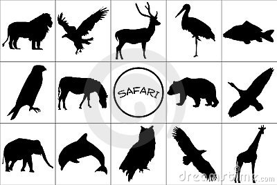 Black silhouettes of animals.