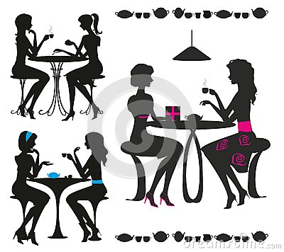 Black silhouettes of girls in cafe