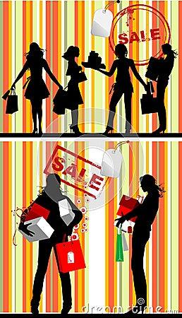 Black Silhouettes, Shopping Women