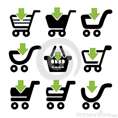 Black simple shopping cart, trolley with green arrow, item