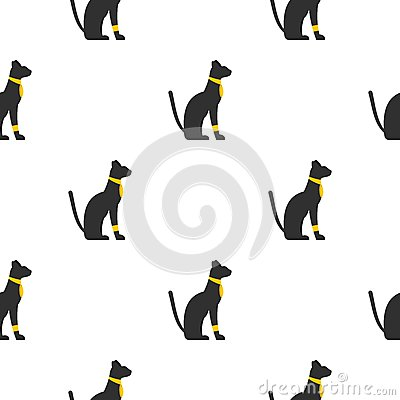 Black sitting Egyptian cat pattern seamless Vector Illustration