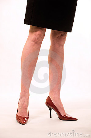 Black skirt and red shoes
