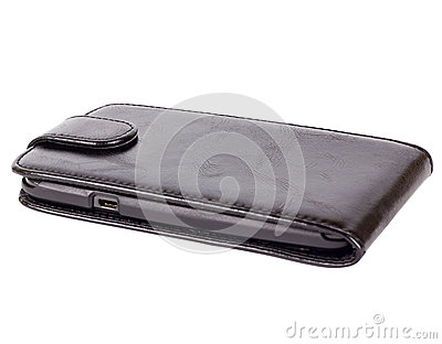 Black smartphone in case