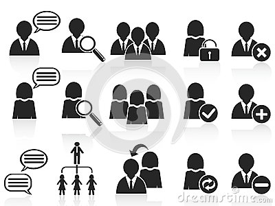 Black social symbol people icons set
