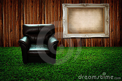 Black sofa and picture frame