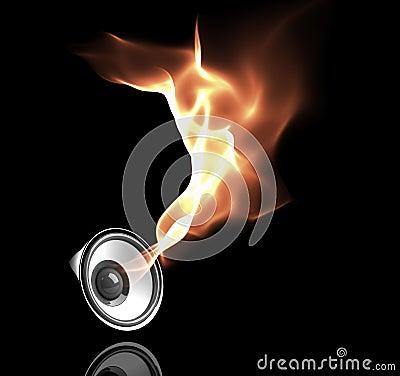 Black speaker with fiery sound waves