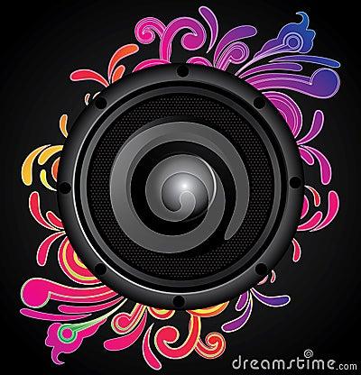 Black speaker with swirl ornament