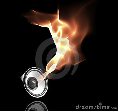 Free Black Speaker With Fiery Sound Waves Royalty Free Stock Photo - 7257865