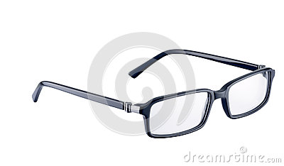 Black spectacles on white with path