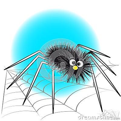 Black spider and spiderweb - Kids illustration