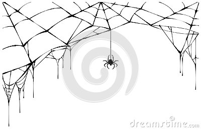 Black spider and torn web. Scary spiderweb of halloween symbol Vector Illustration