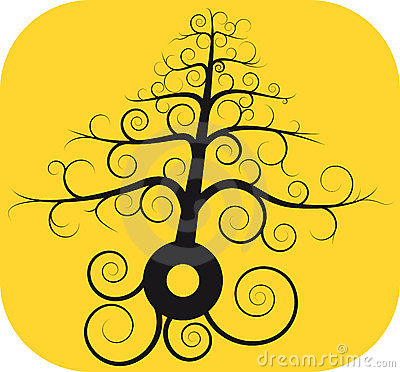 Black spiral tree with root