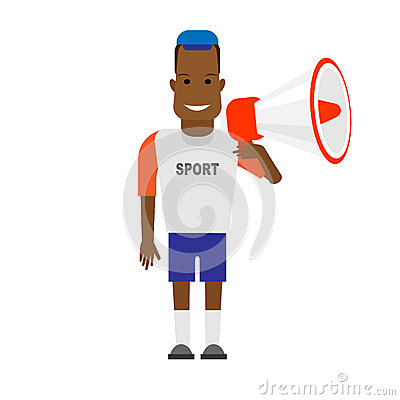 Black sportsman with megaphone