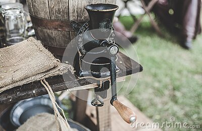Black Steel Grinder On Brown Wooden Table Free Public Domain Cc0 Image