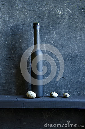 Free Black Still-life With Bottle And Bird Eggs Royalty Free Stock Photo - 30292335