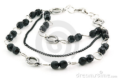 Black Stone Necklace Isolated on White