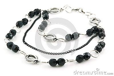 Black Stone Necklace Isolated on White