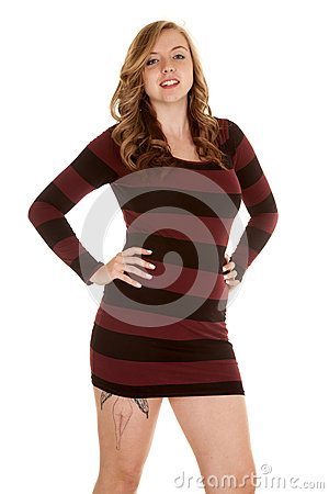 Black Striped Dress Tattoo On Thih Smile Stock Photo ...