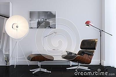 Black Stylish Leather Armchair In Minimalist Office
